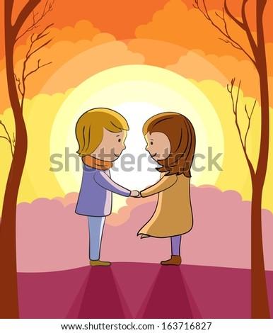 Love sunset vector background - stock vector