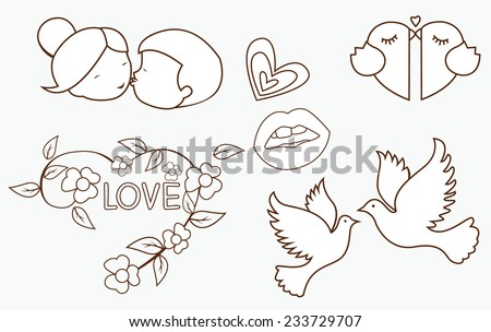 Love Symbol Object Collection Hand Drawn Sketch Doodle - stock vector