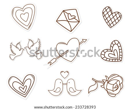 Love Symbol Object Hand Drawn Sketch Doodle - stock vector