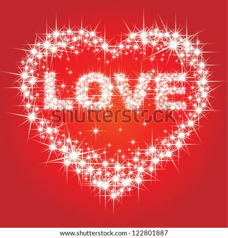 Love text and heart with bright stars - stock vector
