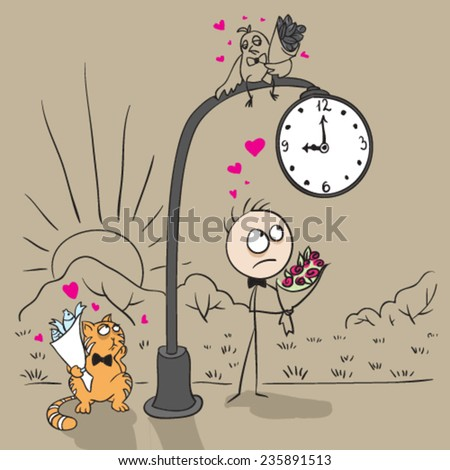 Love. The guy near post with a clock waiting for date with a girl. Vector cartoon illustration - stock vector