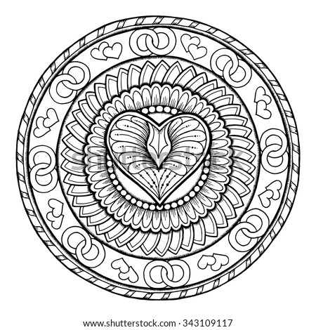 Love theme. Circle tribal doodle ornament with heart. Hand drawn art mandala. Black and white ethnic background. Zentangle pattern for coloring book for adults and kids. - stock vector