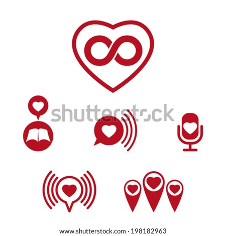 Love theme vector icons set, conceptual valentine and romantic symbols collection. - stock vector