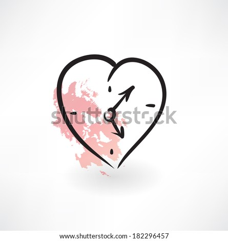 love time grunge icon - stock vector
