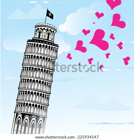 Love to Italy, Pisa tower vector illustration. - stock vector
