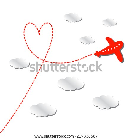 Love Travel Concept Illustration: cute airplane flying between clouds, leaving behind a love shaped smoke trail. Red plane silhouette on white background.Vector. Flat. - stock vector