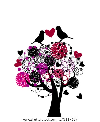 love Tree with birds. Vector - stock vector