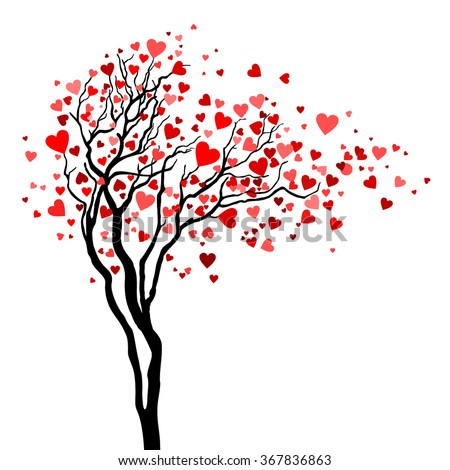 Love tree with heart leaves - stock vector