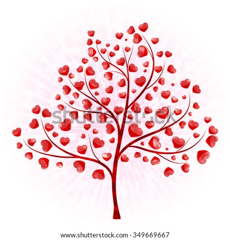 love tree with leaves from hearts vector - stock vector