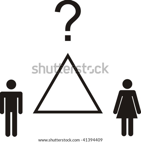 Love triangle between a man a woman and a question mark - stock vector