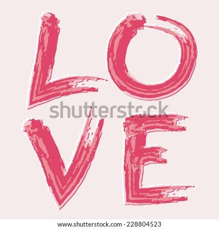 Love typography, t-shirt graphics, vectors - stock vector
