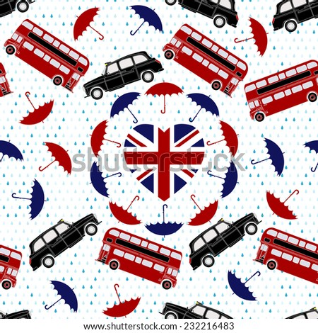 Love United Kingdom symbol. Heart flag, double-decker, London taxi, umbrellas, rain . Vector illustration. - stock vector