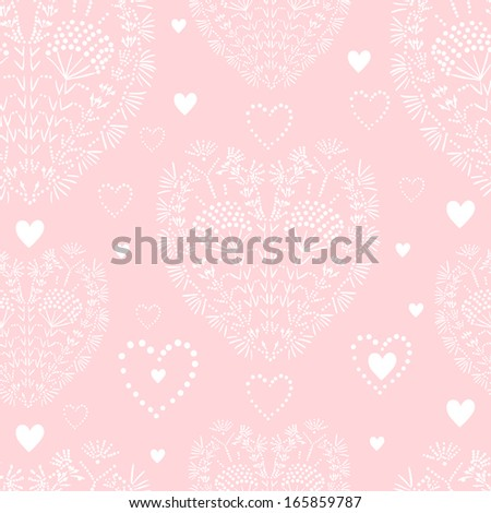 Love Valentine's Day pattern with hearts. Vector background - stock vector