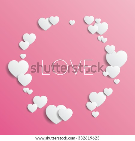 Love - Vector illustration with pink background and white hearts, eps10 - stock vector