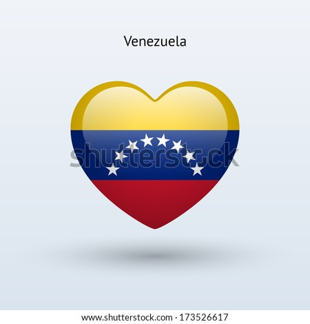Love Venezuela symbol. Heart flag icon. Vector illustration. - stock vector