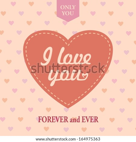 Love vintage card with the heart. Vector illustration. - stock vector