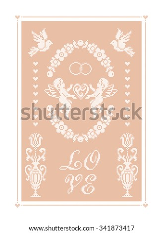 Love. Wedding banner. Ornament. Vector design. Embroidery. - stock vector