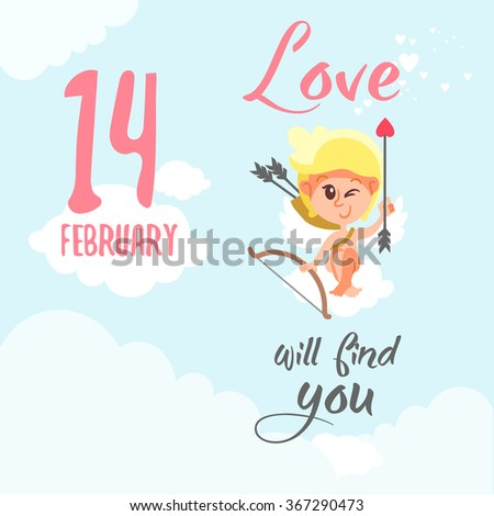 Love will find you. Valentine's day design concept with cute smiling cupid sitting on cloud in the sky and showing his arrow. Vector illustration - stock vector