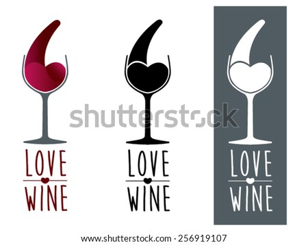 Love wine is a vector illustration representing a glass of wine and a splash forming a heart. It is a modern and elegant illustration related to the world of wine, wineries, health, restaurants, etc. - stock vector