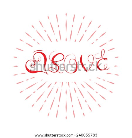 Love written by hand isolated on white background - stock vector