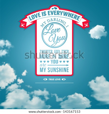 Love you poster in retro style on a summer sky background. Lettering and background can be used separately. Typographical design. Vector image. - stock vector