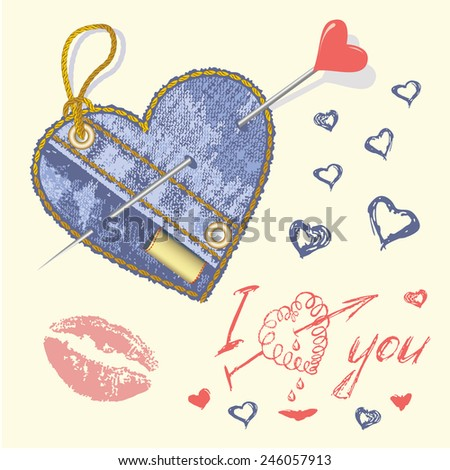 love you, vector hand drawn text. Valentines day card - stock vector