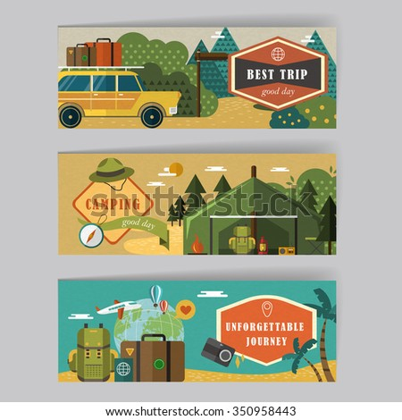 lovely banners set template design with travel elements - stock vector