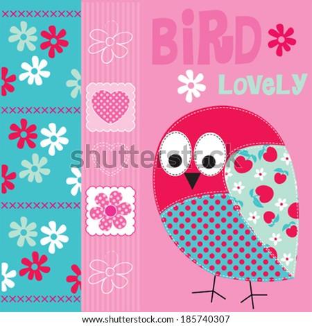 lovely bird card vector illustration - stock vector