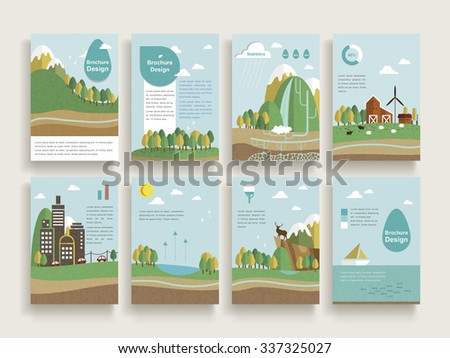 lovely brochure template design set with nature scenery background in flat design - stock vector