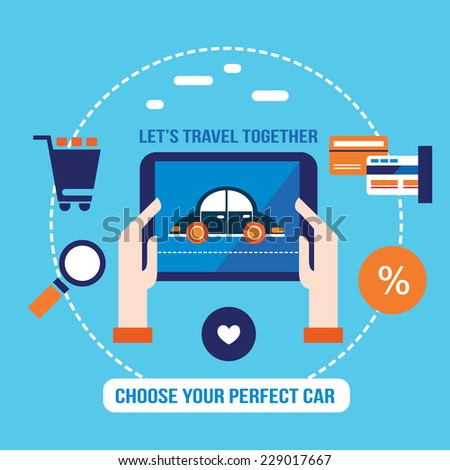 Lovely car on the tablet screen. Shopping, buying auto, choose a perfect automobile. Vector illustration - stock vector