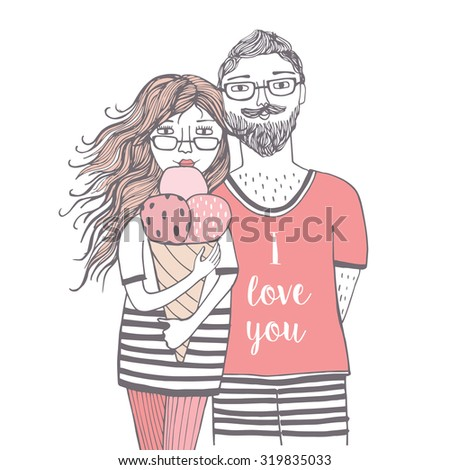 Lovely card with beautiful girl with ice cream and guy. I love you. Fashion people. Vector illustration of fashion girl and stylish guy on a street-background  - stock vector