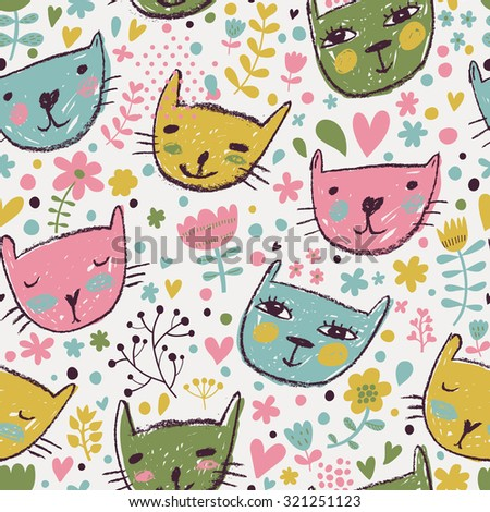 Lovely childish seamless pattern with cats and flowers in bright colors. Seamless pattern can be used for wallpaper, pattern fills, web page backgrounds, surface textures - stock vector