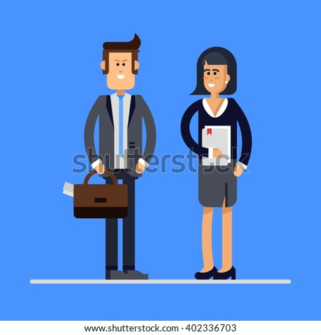 Lovely couple of businessmen smiling isolated. Businessman and businesswoman characters standing. Female and male friendly office workers couple - stock vector