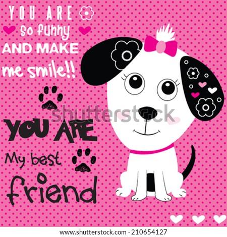 lovely dog card polka dot background vector illustration - stock vector