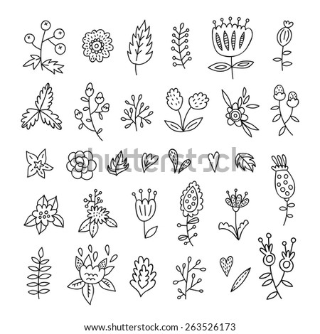 Lovely doodle outline floral elements, plants and flowers - stock vector