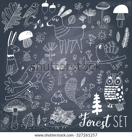 Lovely forest set with sweet wild animals : rabbit, deer, hedgehog, squirrel, owl and birds. Stylish natural background with birds and animals in trees, mushrooms, leafs and insects in gray and white - stock vector