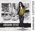 Lovely girl on a street background. Vector illustration - stock vector