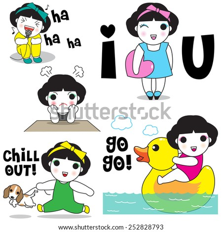 Lovely Girls and Boys Daily Life Character Expressions illustration set - stock vector