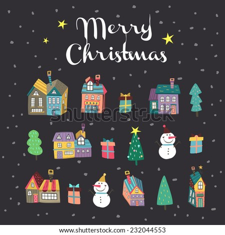 lovely hand drawn Merry Christmas elements isolated on black background - stock vector