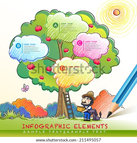 lovely hand drawn style infographic with pen drawing on it - stock vector