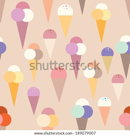 Lovely ice - cream cones seamless background pattern. Vector illustration - stock vector