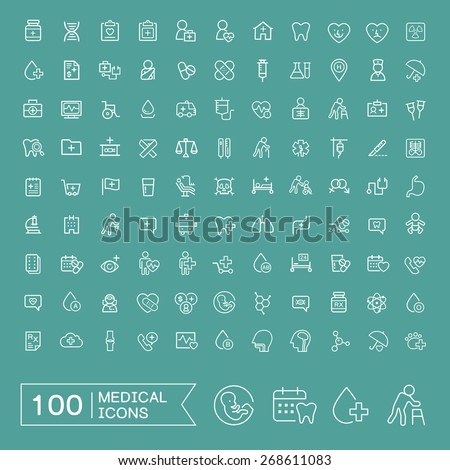 lovely 100 medical icons set over turquoise background - stock vector