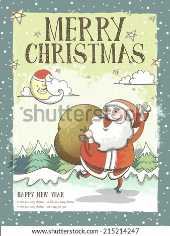 lovely Merry Christmas greeting card or poster  with Santa Claus - stock vector
