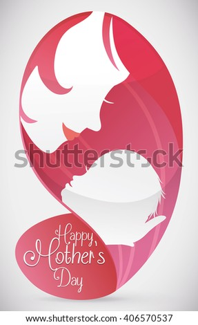 Lovely mom holding her beauty baby silhouettes in abstract form with Mother's Day message. - stock vector
