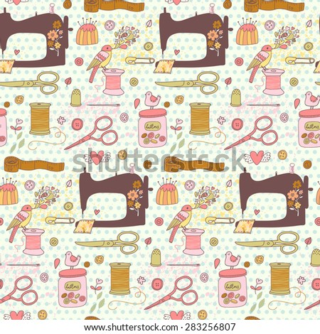 Lovely needlework seamless pattern in vector. Sweet sewing machine, scissors, sewing and other handicrafts items. Vintage background in cartoon style in awesome colors - stock vector