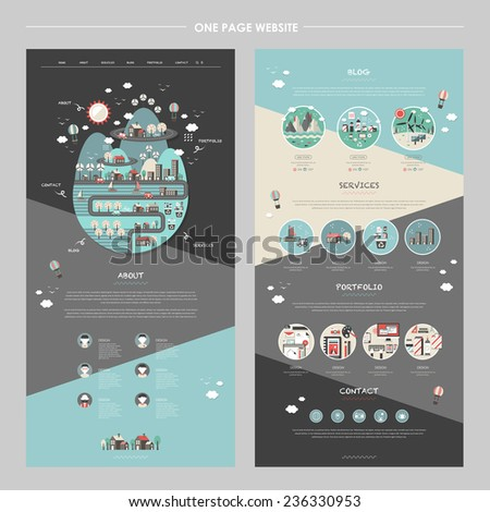 lovely one page website template with planet element in flat design - stock vector