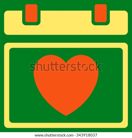 Lovely Organizer Date vector icon. Style is bicolor flat symbol, orange and yellow colors, rounded angles, green background. - stock vector