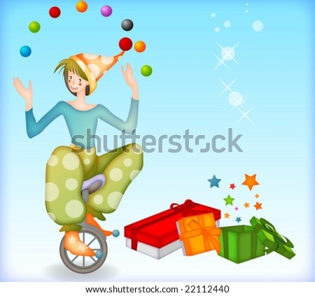Lovely Pierrot and Gift boxes - cute young hatted jester play with colorful balls and ride a bicycle without hands in joyful performance stage on bright and shiny blue background : vector illustration - stock vector
