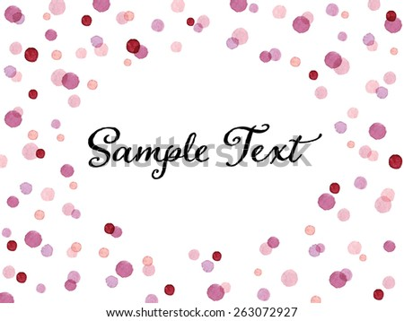Lovely pink and red dots oval frame. Greeting card or invitation template. Vectorized watercolor painting. - stock vector