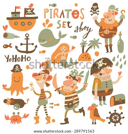 Lovely pirate set in cartoon style. Sweet card with pirates, ship, whale, crab, octopus, mermaid, rum, anchor, treasure, fish, island and parrot. Awesome background in bright colors - stock vector